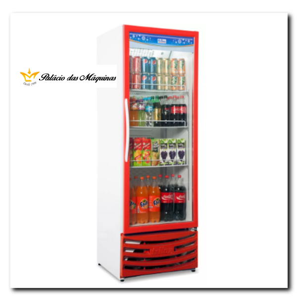 Geladeira Vertical 410 litros Frilux Vermelho Palacio das Máquinas Equipamentos para Estabelecimentos Comerciais